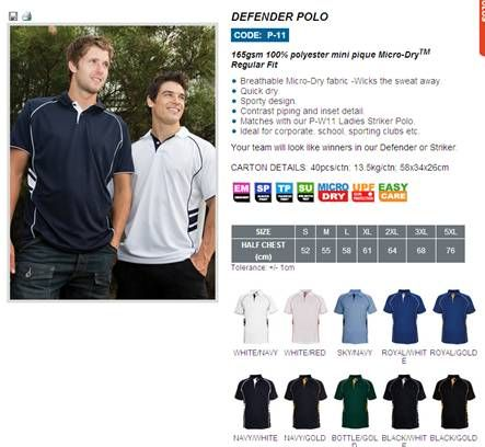 T-shirts, polo shirts, sweatshirts
