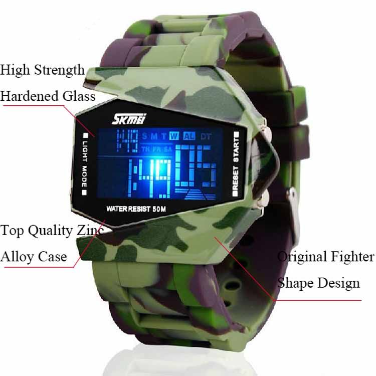 50M Water Resistant Fashion LCD Movement Men Military Watches