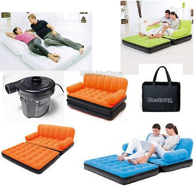NEW INFLATABLE DOUBLE AIRBED SOFA WITH ELECTRIC PUMP AIR CAMPING BED COUCH CHAIR