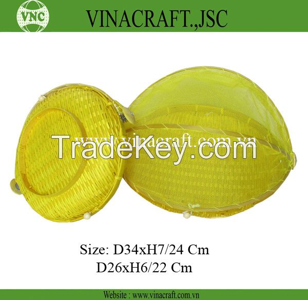 Fruit bamboo basket with net cover