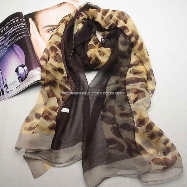 Fashion long women georgette silk leopard scarf