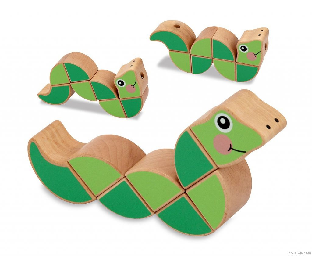 Wooden  twistable Snake Toy