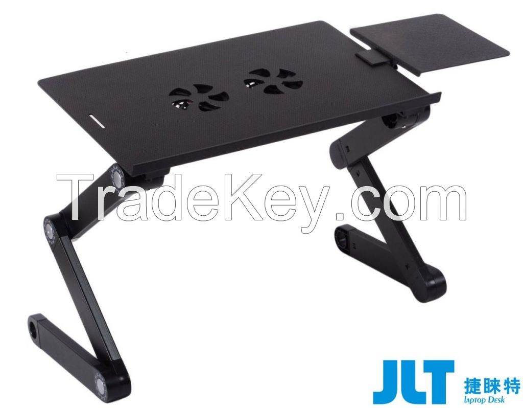 Adjustable vented laptop table with fans