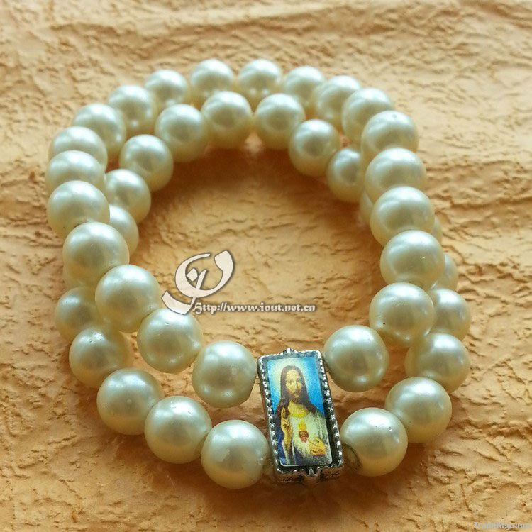 Triple layers white baroque pearl rosary bracelet