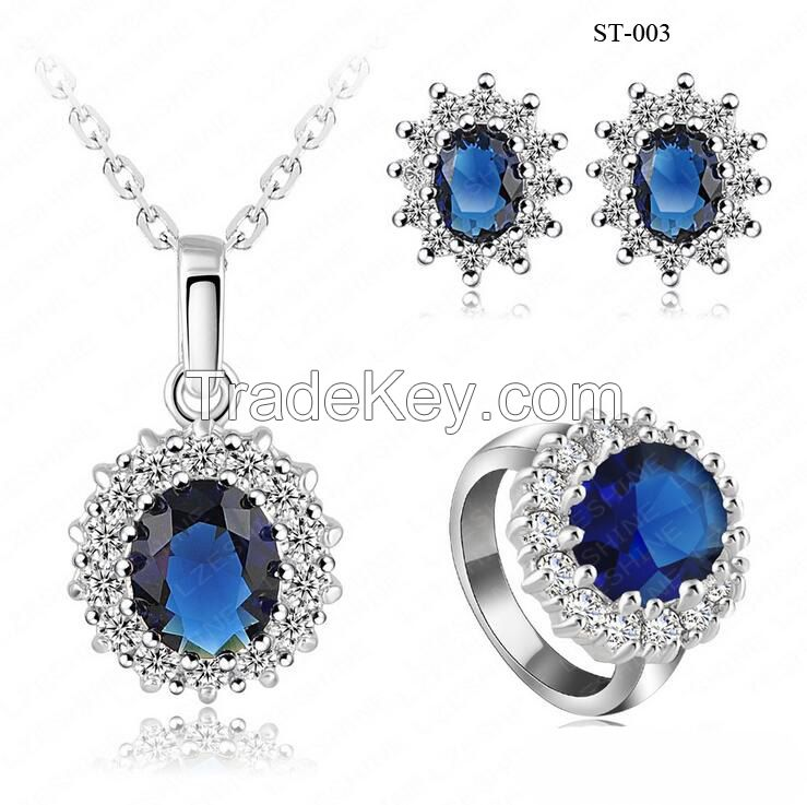 Fashion Crystal Jewelry Sets Metal Alloy Costume Jewelry Necklaces Jewelry Crystal Earrings Promotion Gifts