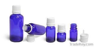 Blue Glass Essential Oil Bottle