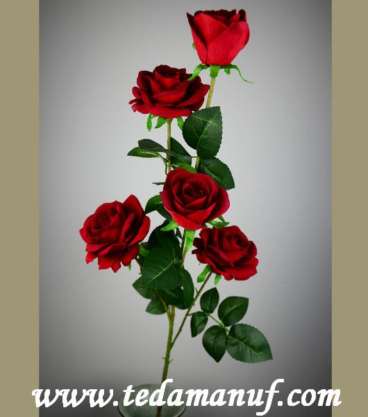 110cm 3 heads artificial flower of pink silk rose branch