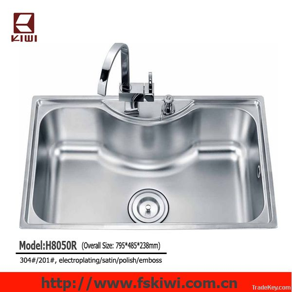 topmount big size single bowl stainless steel kitchen sink