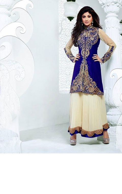 Ethnic Off white and Royal Blue Anarkali Suit