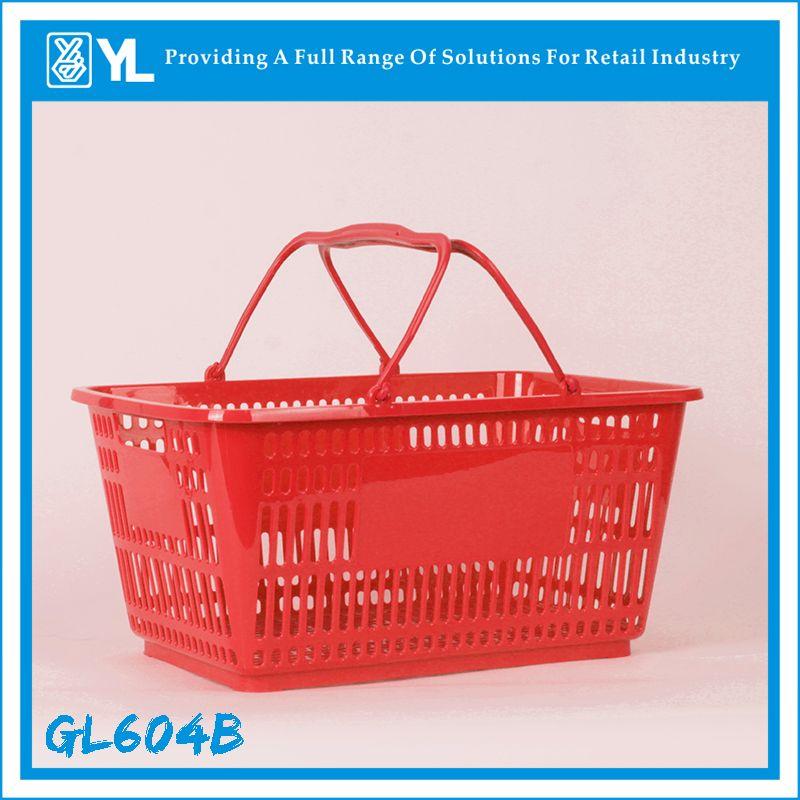 28L Supermarket Metal Handle Covering Plastic Shopping Baskets