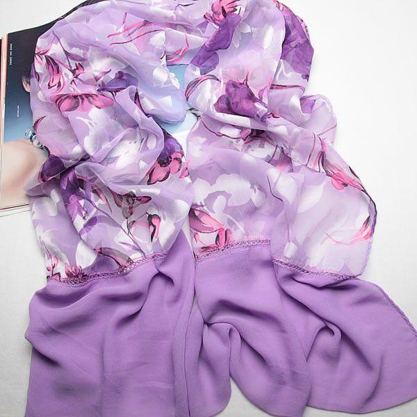 fashion women purple floral long scarf