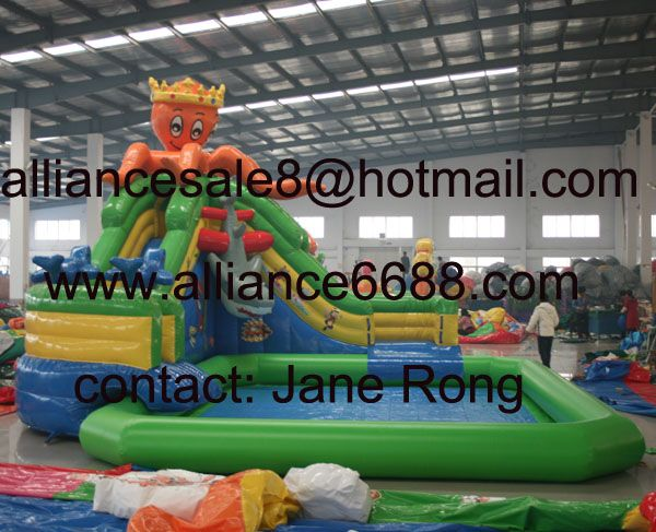 octopus inflatable water slide with inflatable pool