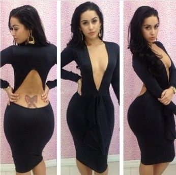 New fashion 2013 bandage dress Backless bodycon dress sexy women 5 Color 3 sizes more choice dresses LYQ1372