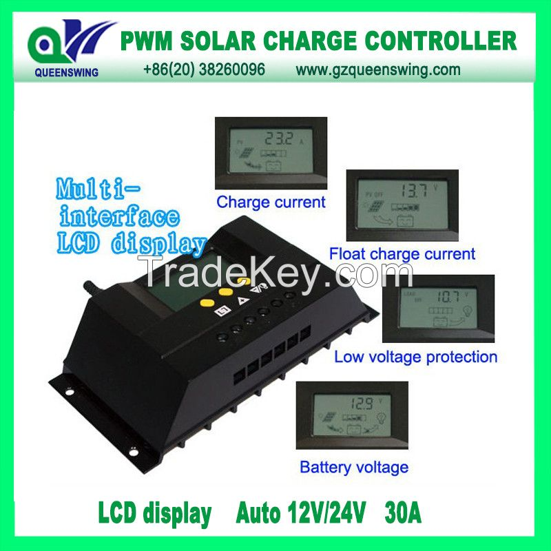 12V/24V Auto 30A PWM Solar Charge Controller with LCD Display