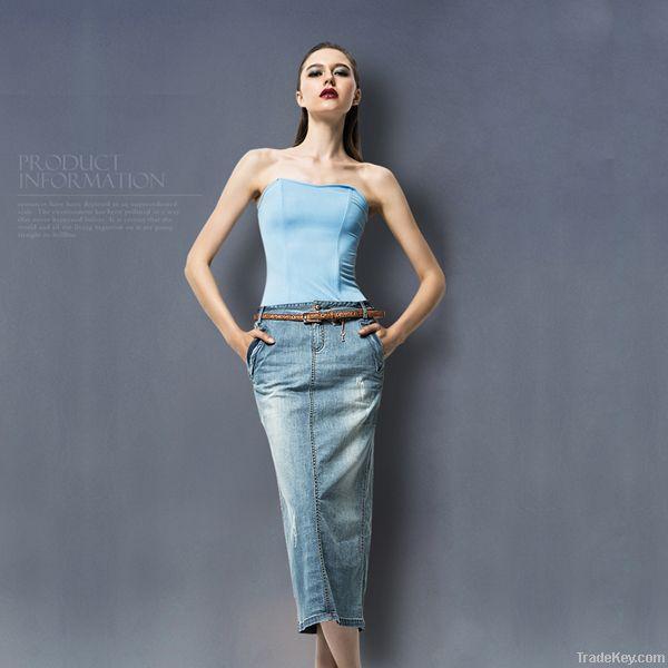 Ladies maxi skirt wholeslae breathable long fashion tight jeans skirt