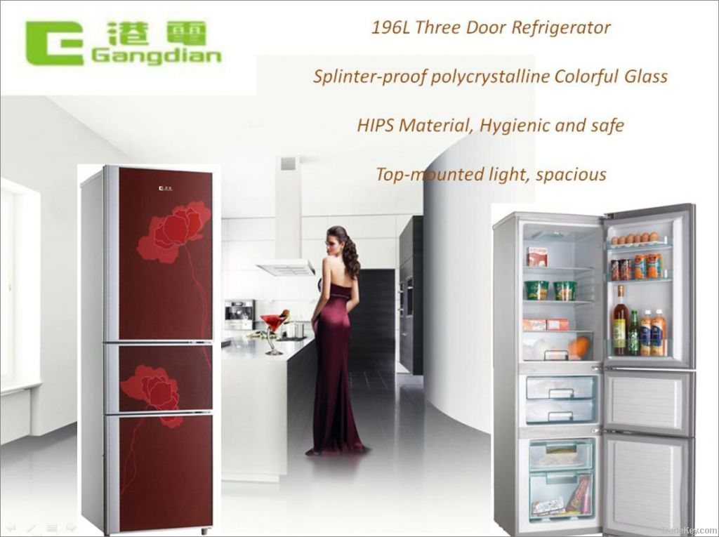 196L Three door household refrigerator