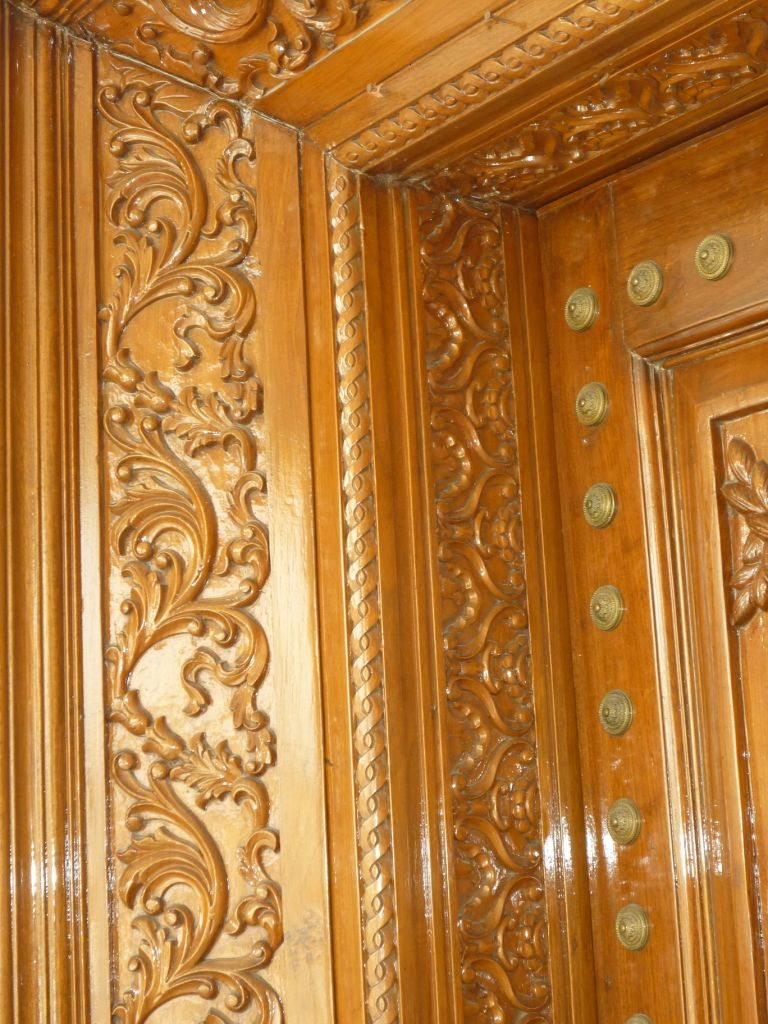 Large main entrance solid wood hand carved door