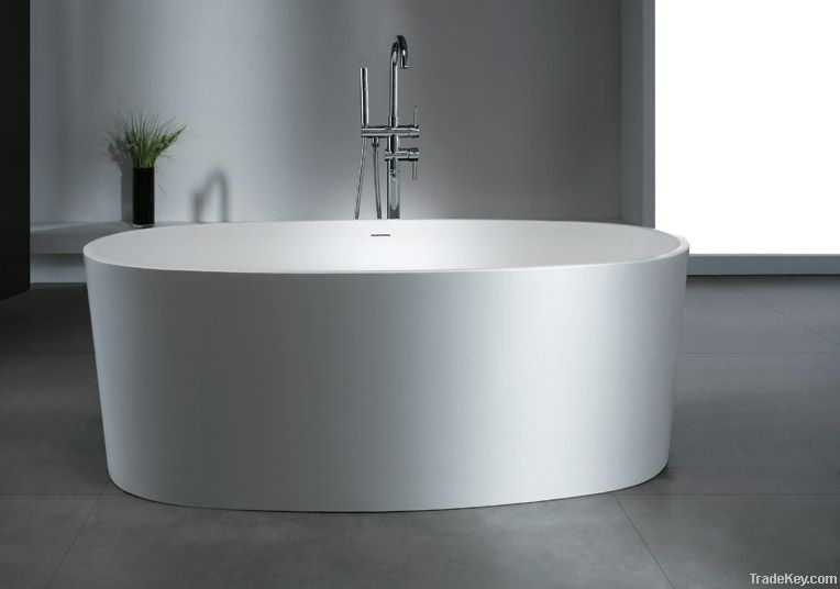 Freestanding solid surface artificial stone bathtub