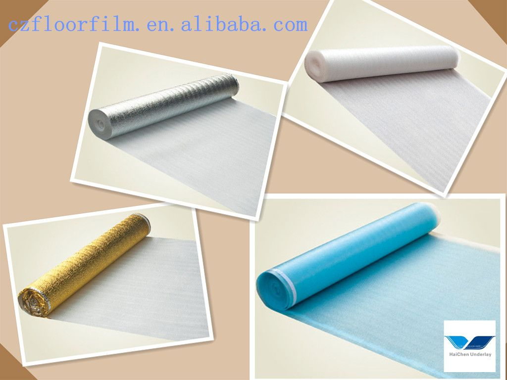 3 mm EPE foam underlayment one side with PE film aluminum coating and golden film