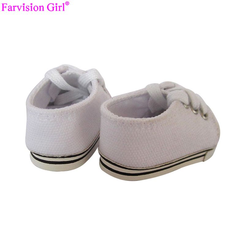 white doll sneakers, doll trainers, 18 inch doll shoes wholesale