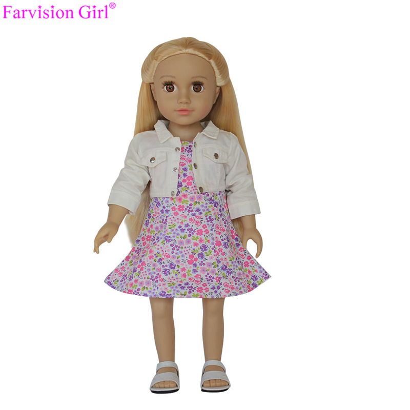 floral doll dress with coat, fashion wholesale doll clothes for 18 inch dolls