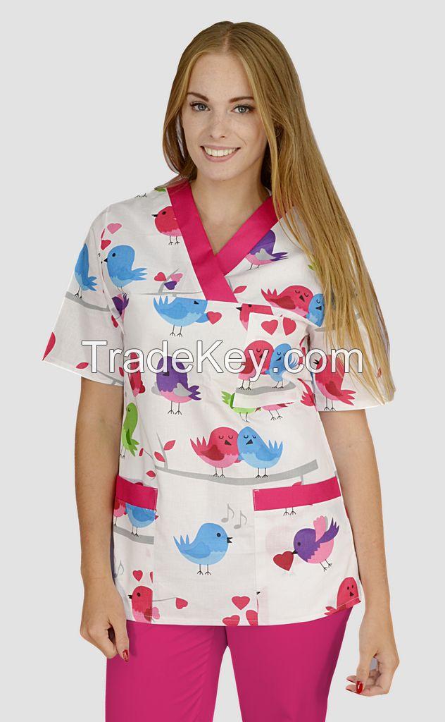 Medical print scrub tops