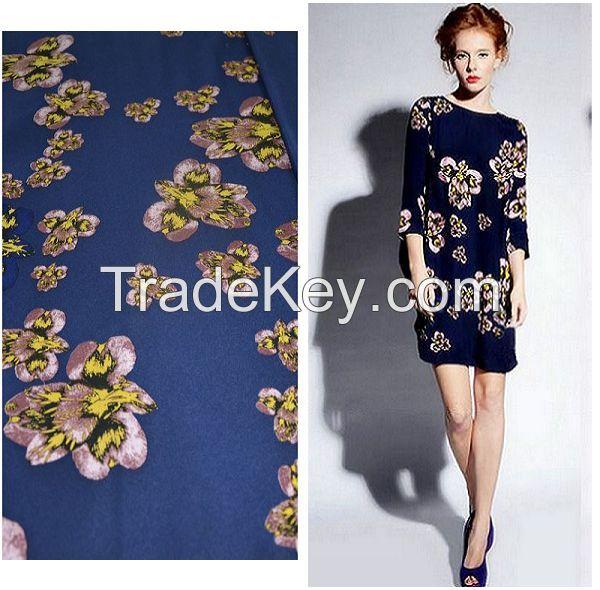 stretch silk flower print silk satin fabric