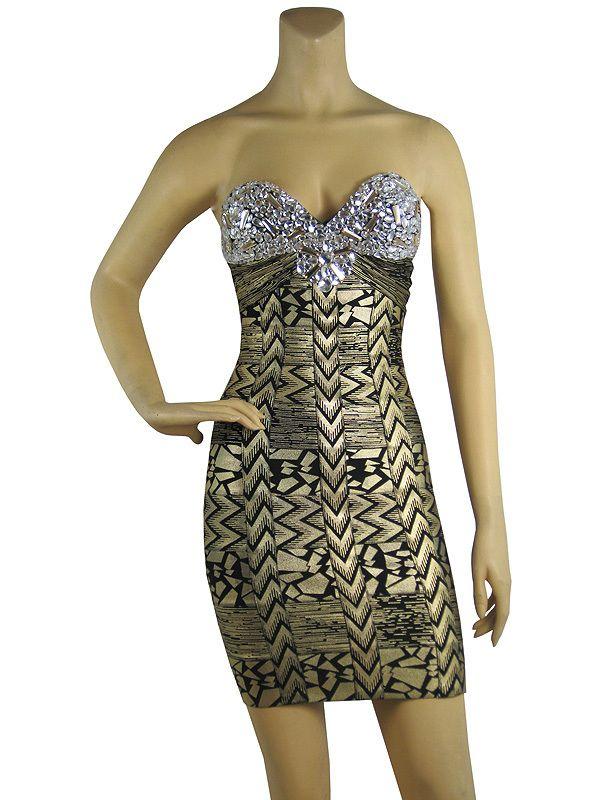 Crystal Embellished Gold Printed Bandage Dress