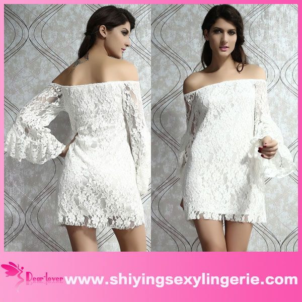 wholesale sexy lace off the shoulder mini korean dress