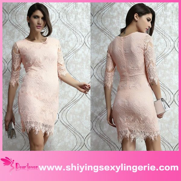 new arrival cheap women sexy light pink lace latest dress