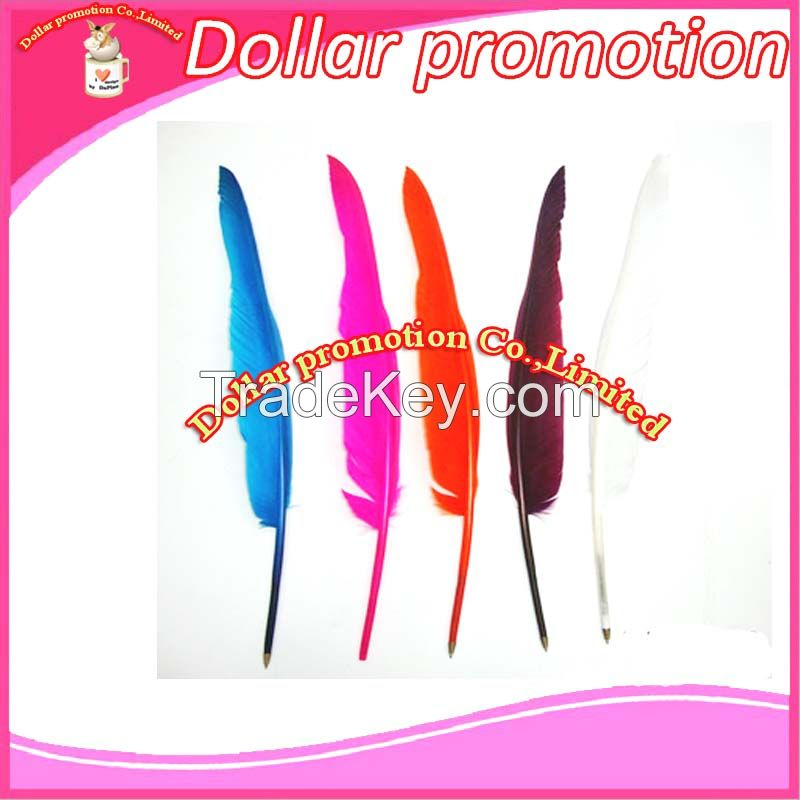[Dollar promotion] custom logo  35cm craft ballpen unique feather pen, promotional gift pen wedding gift adversting gift pen school gift