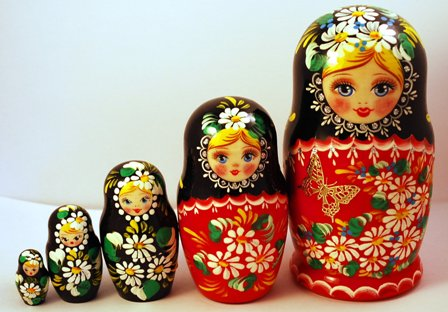 Beautiful set of 5 Russian Wooden Nesting Dolls (Matryoshkas)