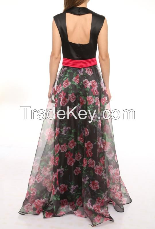 maxi wholesale prom dresses with flower print made in Turkey