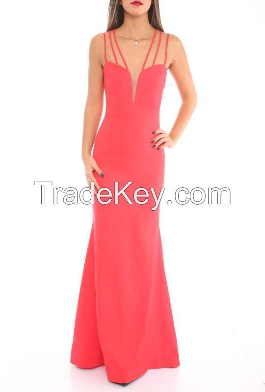 Elegant Long Black and Red Cocktail Dress