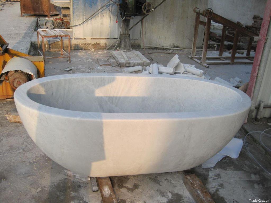 Hunan white marble oval bathtub