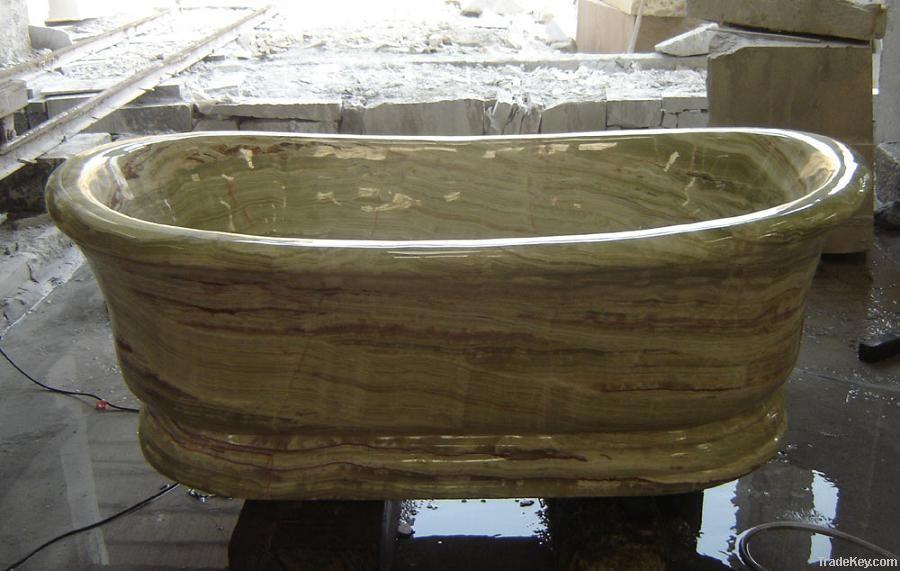 Oval Green onyx marble bathtub