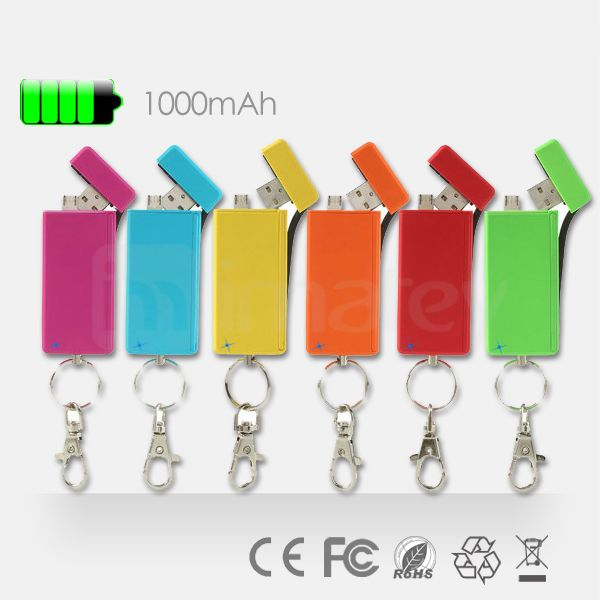 2014 Patent Keychain Power Bank 1000mAh Charge Sync Memory Three In One