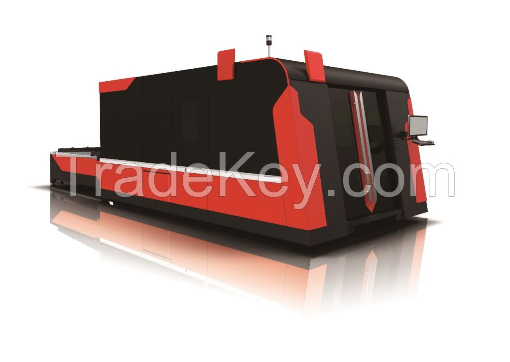 GZ1530FG Fiber Laser Cutting Machine with Housing and Exchange Table