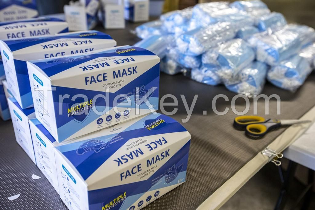 High Quality cheap PPE 3 ply earloop face mask disposable