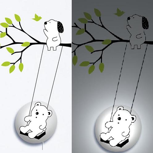 26R016 Bear on the Swing Cartoon Children Wall Lamps