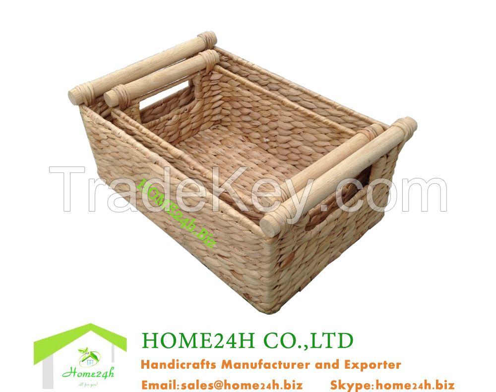 storage basket natural water hyacinth material eco-friendly