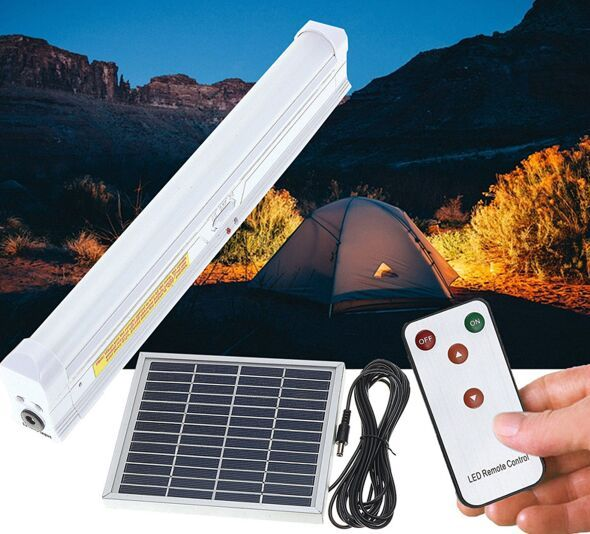 Solar Powered 30 LED Light Bar Home Room Camping Outdoor Garden Hanging Lamp With Remote Control