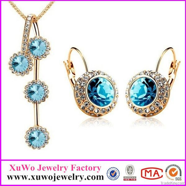 The Pacific Blue Crystal Necklace Earring Jewelry Sets