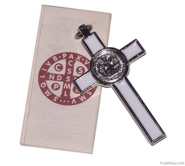 St. Benedict Crucifix Pendant With White Enamel