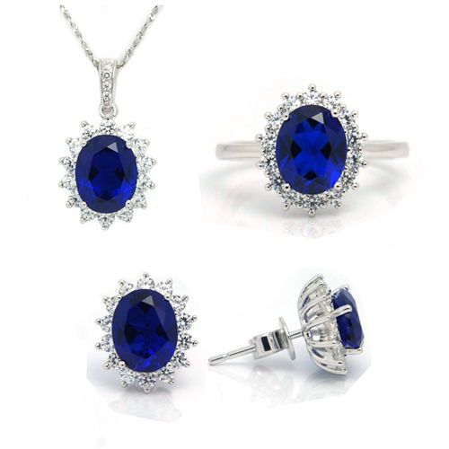 Synthetic Sapphire Jewelry Sets 925 Sterling Silver