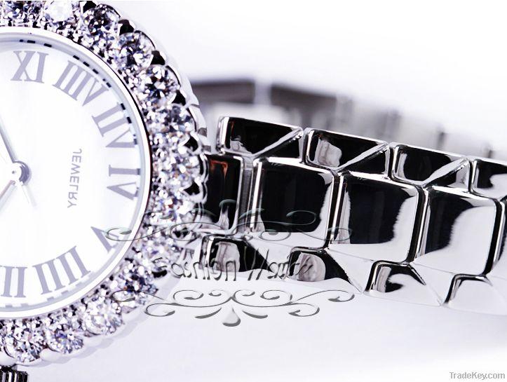 Luxury Women Watches Ladies Wrist Watches Gorgeous Rhinestones Rose Go