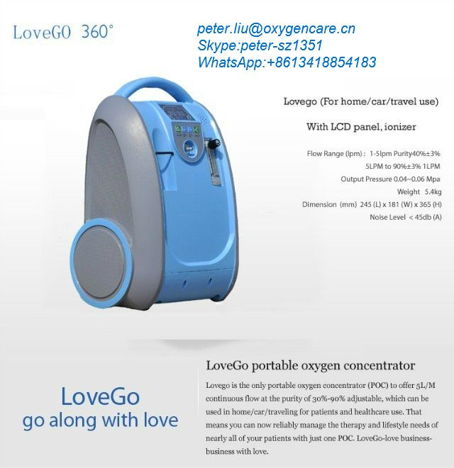 Newest 5LPM 5.4KG Portable oxygen concentrator for home/car/travel use