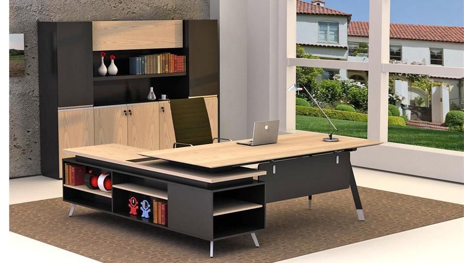 Modern Melamine Office Table with Metal Frame home office furniture