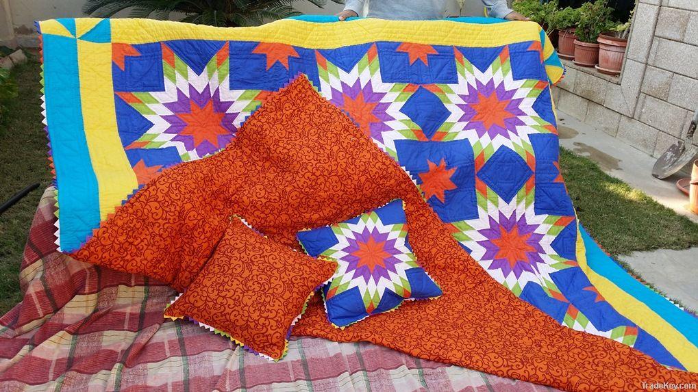 Handmade Patch Work Big Star Quilt