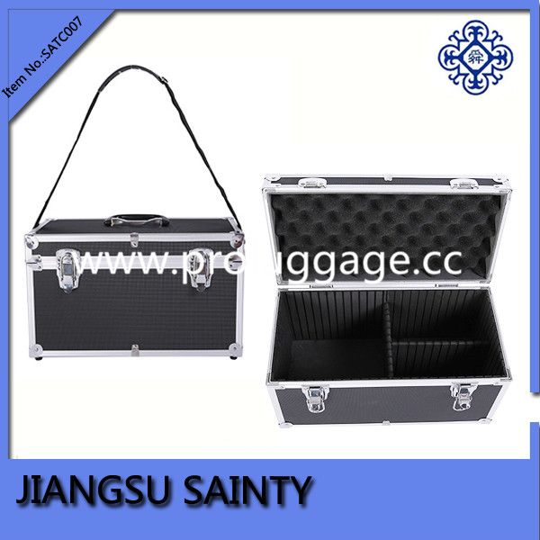 Black plastic hard case tool box ABS surface aluminum tool case